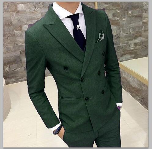 2018 Verde Vestito Da Uomo Slim Fit Doppio Petto Sposo Smoking 2 Pezzo Su Ordinazione di Promenade di Cerimonia Nuziale Abiti Blazer Terno Masuclino Giacca + Pant
