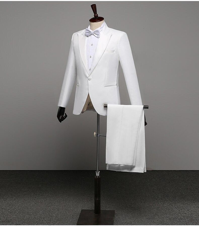 Uomini Prom Abiti Uomo Scialle Risvolto Bianco Nero A due Pezzi Pantaloni Giacca del Vestito Sottile Da Sera Del Partito Della Fase Spettacolo di Prestazioni vestito da cerimonia nuziale