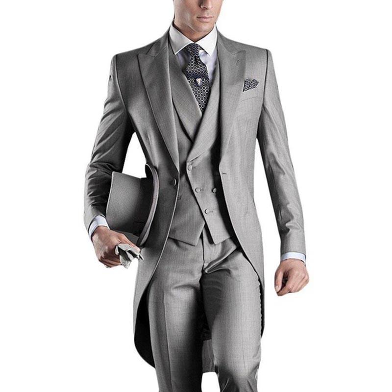 Nuovo Arrivo degli uomini Italiani frac grigio abiti da sposa per gli uomini groomsmen abiti 3 pezzi abiti sposo abiti da sposa ha raggiunto il picco risvolto mens si adatta alle