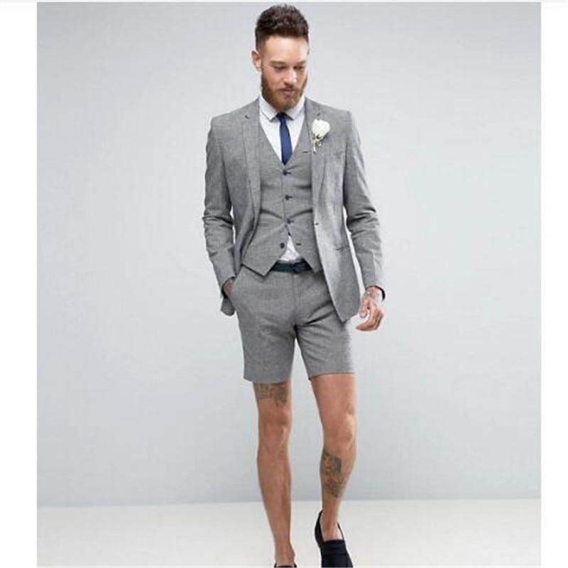 2019 Light Grey Shorts Summer Elegant Men's Suit (Jacket +Pants+Vest) Casual Groom Tuxedo Beach Wedding Suits Best Man Blazer