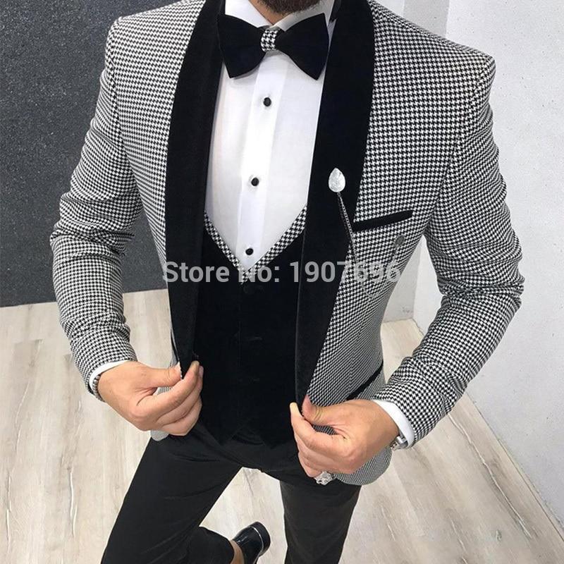 3 Pezzo Pied De Poule Vestito da Uomo Slim Fit per La Cena Del Partito di Promenade Del Vestito su Misura Groom Wedding Tuxedo Best Giacca Uomo pantaloni Della Maglia