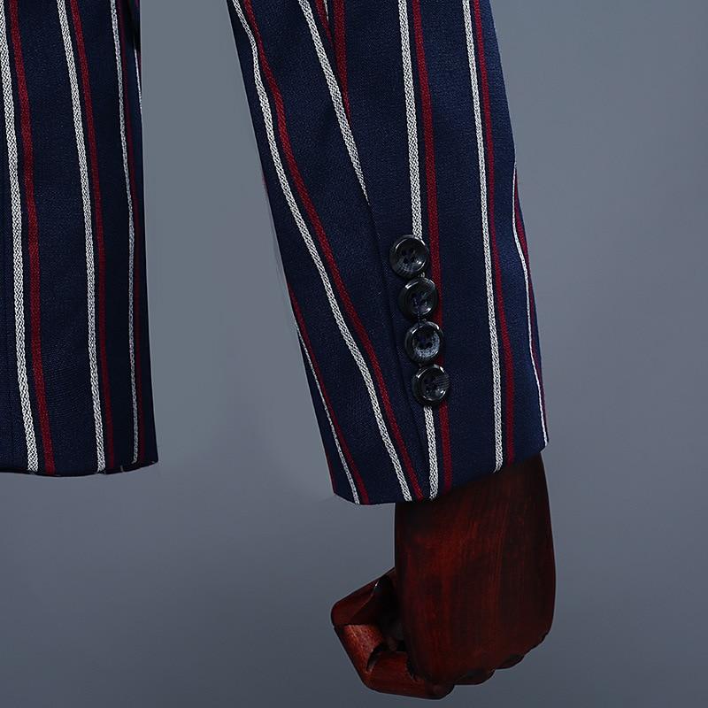 Semplice Formale Abiti Da Uomo 2019 Maglia A Manica Lunga Vestito Mens casual Ballo Per Le Strisce Blu del Vestito Slim Fit Abbigliamento A Due Pezzi set Pantaloni Del Cappotto