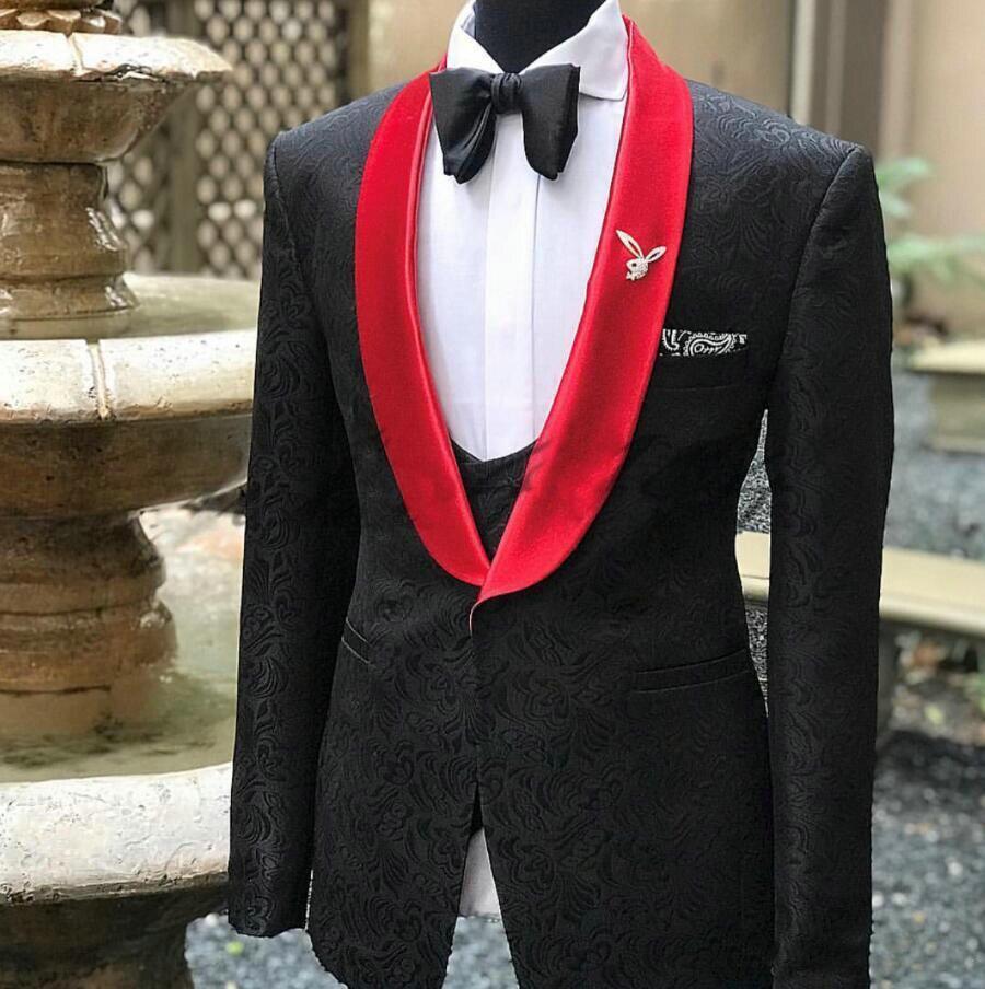 2019 Ultimi Disegni Del Cappotto della Mutanda Nero Stampato Formale Degli Uomini di Nozze Vestito 3 Pezzi Abiti Slim Fit Sposo Abiti Da Sposa Per uomini