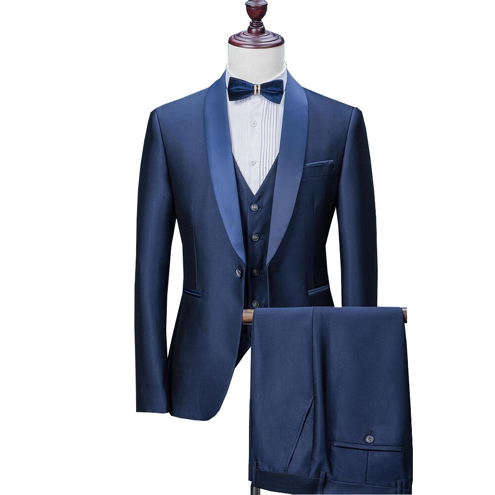 Mens Suits 2019 Wedding Suits For Men Shawl Collar 3 Pieces Slim Fit Blue Suit Mens Tuxedo Jacket For Wedding(Blazer+Pants+Vest)