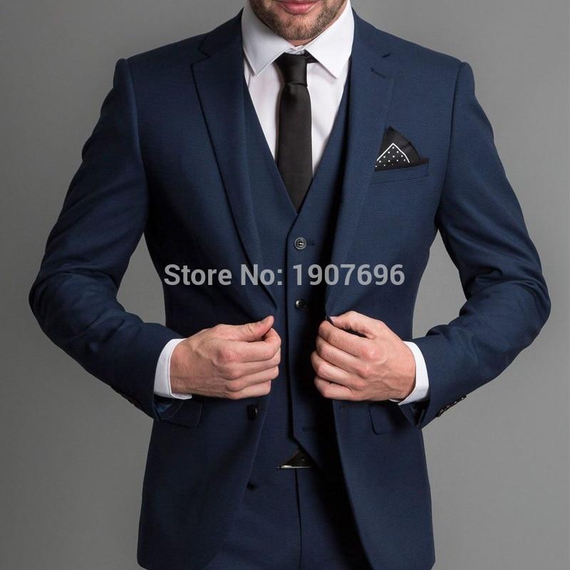 Smoking da cerimonia formale blu navy per gentleman prom slim fit 3 pezzi risvolti intagliati abiti da uomo personalizzati set giacca giacca gilet nuovo