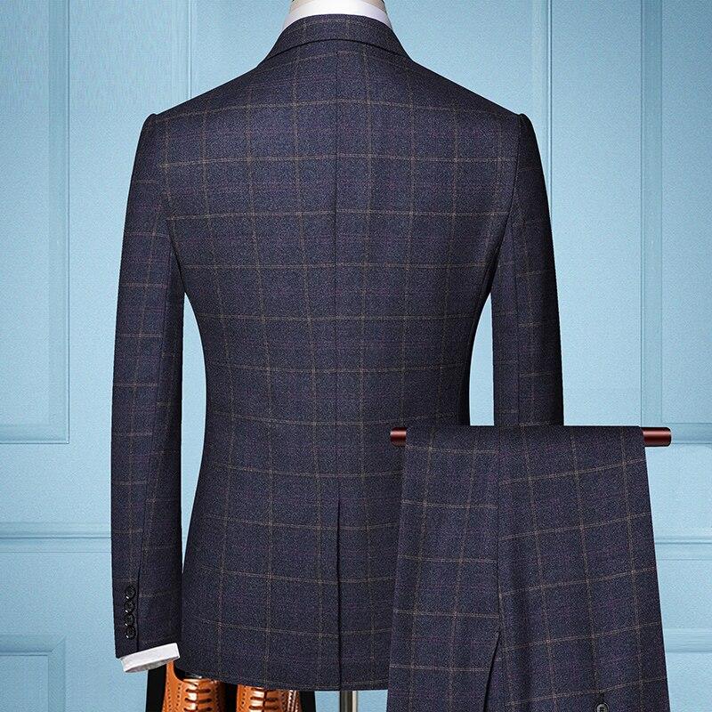 2019 Tre-pezzo di Sesso Maschile di Business Formale Plaid Vestito per Gli Uomini di Boutique di Moda Plaid Vestito Da Cerimonia Nuziale del Vestito (Giacca + Vest + Pants)