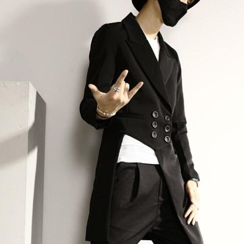 Uomo asimmetrico casual slim fit lunga blazer doppio petto wedding del partito di hip hop punk del rivestimento del vestito cantante di nightclub costume di scena