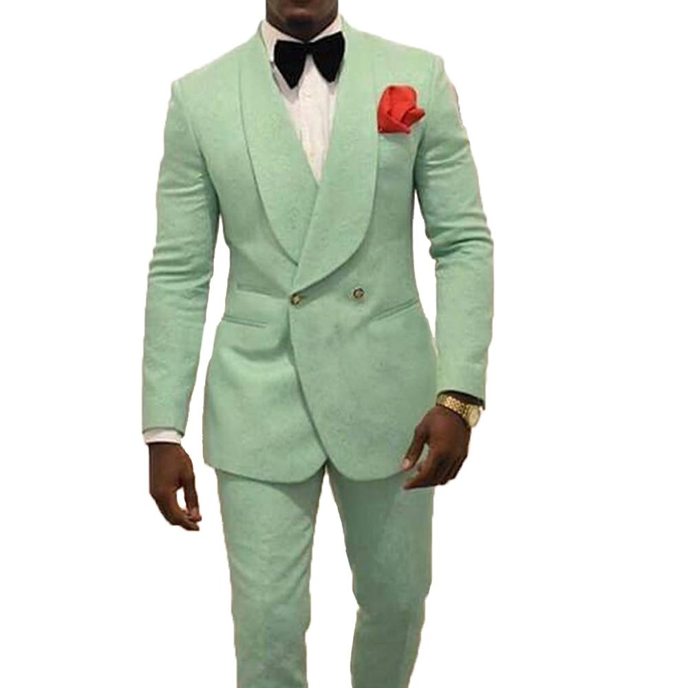 Moda Menta Verde Degli Uomini di Fantasia del Vestito Slim Fit 2 Pezzi Doppio Petto Groomsmen Smoking Giacche Per La Cerimonia Nuziale (Giacca + pantaloni)
