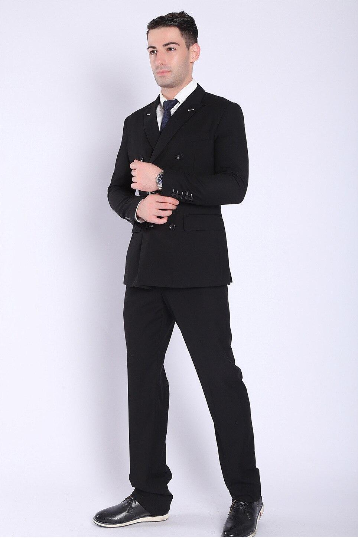 Paulkonte Uomo Slim Fit Vestito Doppio Petto Nero Blu Smoking da Sposa Formale Del Partito Mariage Vestito Degli Uomini Classici 2 Pcs (Vestiti + Pantaloni)