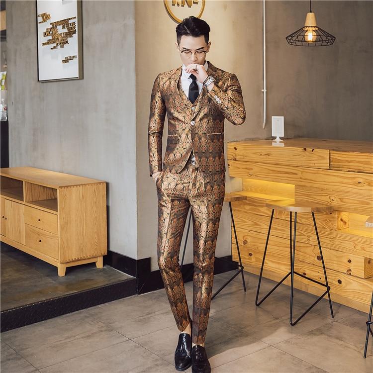 Brand New Slim Fit Casual Terno Masculino 3 pcs/2 pcs Vestito Degli Uomini di Lusso Nuovo Modello Vestiti Interi Eleganti Un Pulsante host Stadio Smoking 3XL-M