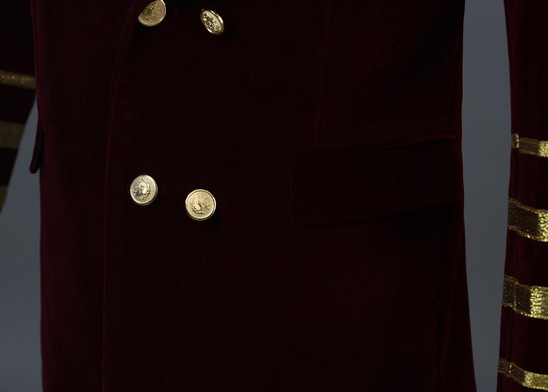 Pyjtrl Degli Uomini Collo a Scialle Royal Blu Della Pelle Scamosciata Del Ricamo Allentato Giacca Stage Show Cantante Doppio Petto Degli Uomini Blazer Designs