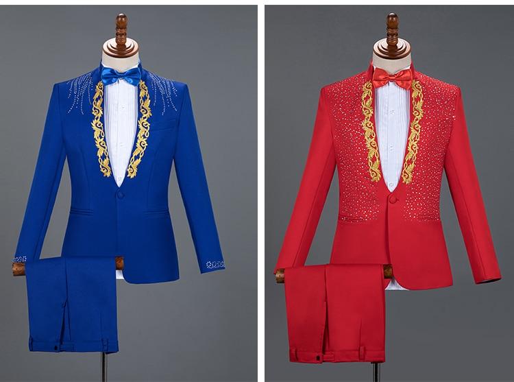 Red Sparkly Cristalli Ricamo Giacche Degli Uomini di Vestito Da Sposa Sposo Abiti Bianchi Fase Coro Abiti Cantante Ospite 2-Pezzi Set costume