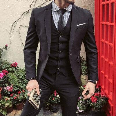 Zogaa Uomini Vestiti Interi Eleganti 5XL 4XL 2019 di Affari Slim Fit Abiti Sposo Abito da Sposa di Colore Puro 3 Pezzo di Abiti Più Il Formato degli Uomini di Tute per Il Tempo Libero