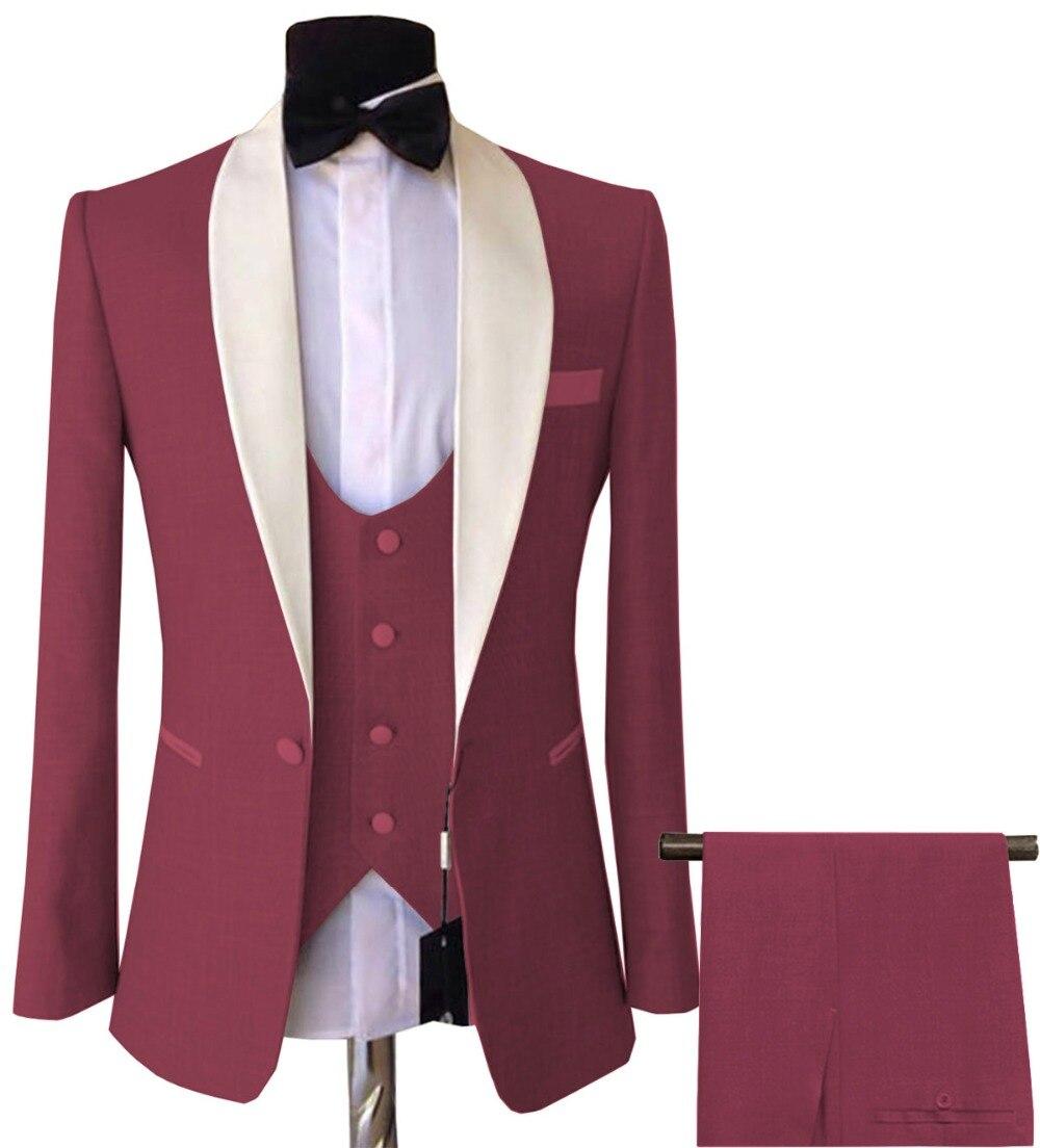 Mens 3 Pezzi Abiti Slim Fit Affari Sposo Rosa viola Giacca Smoking Giacca Bianca per la Cerimonia Nuziale di Sera di Promenade (Giacca Sportiva + Vest + Pants)