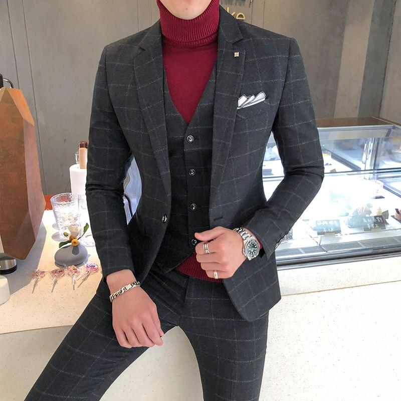 3 pezzi Abiti Giubbotti + Pants + Maglia Da Sposa Vestiti Interi Eleganti Per Gli Uomini Blu Plaid Formale indossare Abiti Nuovi Uomini di Sottile lo sposo Si Adatta Alle Dimensioni XS-5XL