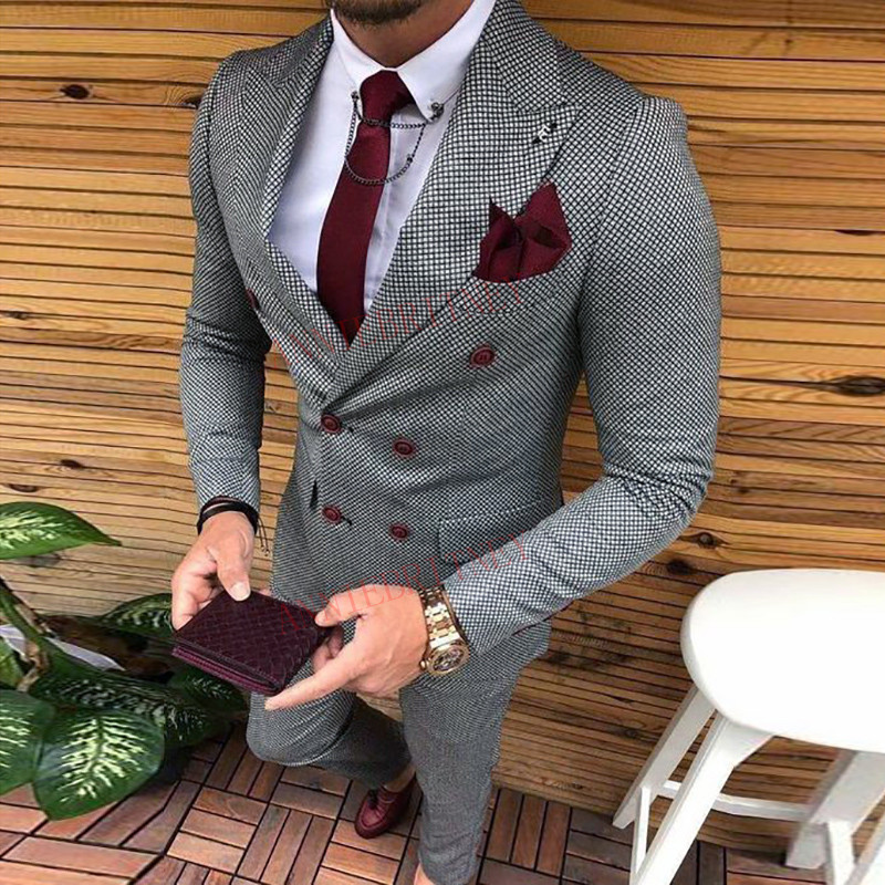Ultimi Disegni Della Mutanda Del Cappotto Doppio Petto Vestito da Uomo Slim Fit Abiti da Sposa di Moda per Gli Uomini Promenade Dello Sposo Tuxedo Jacket con pantaloni Set