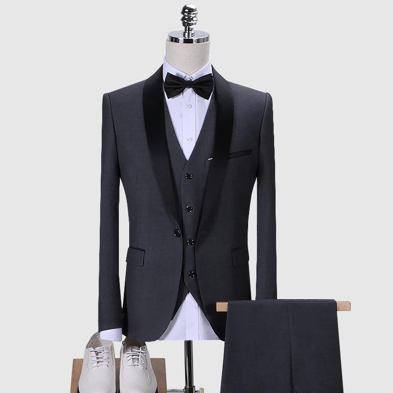 Giacca di Maglia Pantaloni Abito Di Lusso Degli Uomini di Alta-end Personalizzato Biglietto Da Visita Giacche Degli Uomini di Modo di Cerimonia Nuziale del Vestito Abito A tre vestito di un pezzo