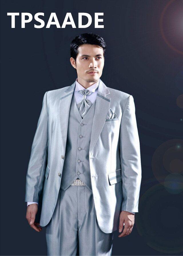 Abito da sposa sposo due pulsanti di modo slim fit di stile formale smoking vestito degli uomini casual (giacca + pantaloni + vest + tie)