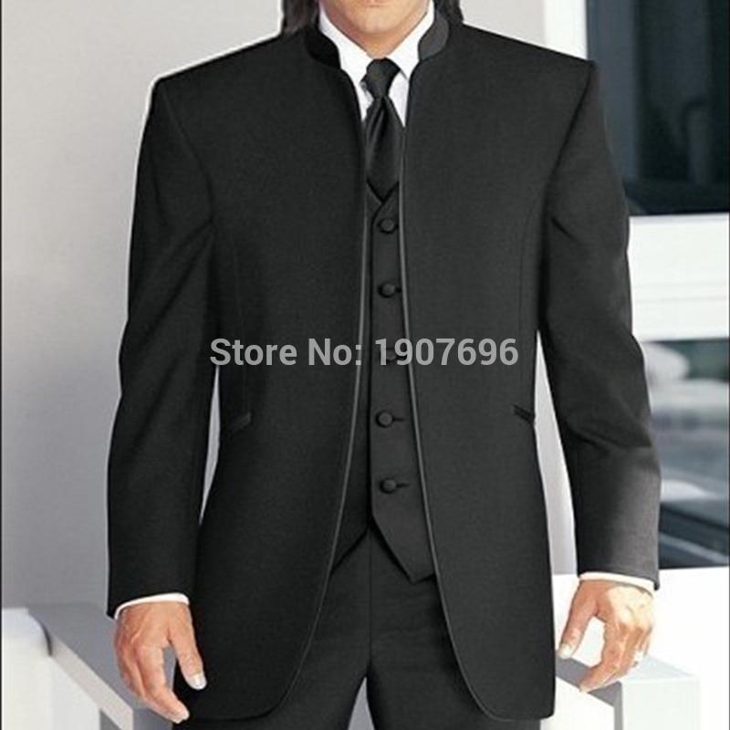 Su Misura Sposo Smoking per La Cerimonia Nuziale Del Partito con Il Basamento Del Collare Ultimo Stile 3 Pezzi Uomini Vestiti Set Giacca di Maglia con pantaloni Nuovo