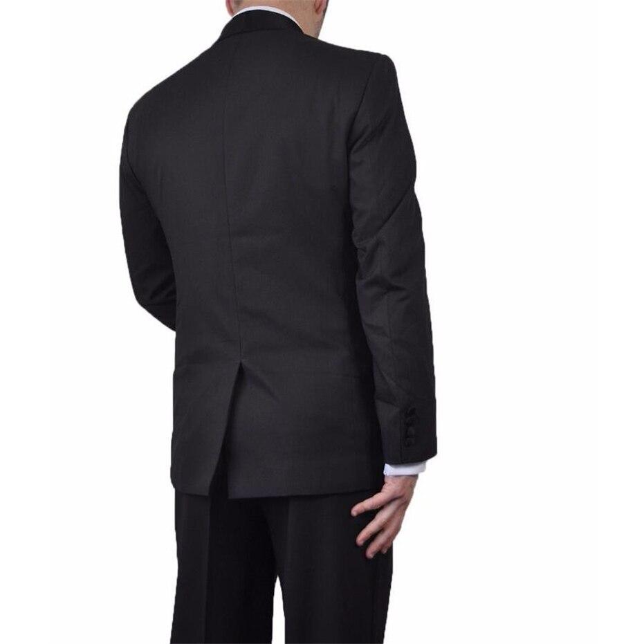 HB044 Raso Nero Collare Due Pulsanti Nero Smoking Dello Sposo Intaglio Risvolto Groomsmen Migliori Uomo Uomo Abiti Da Sposa (Jacket + pantaloni)