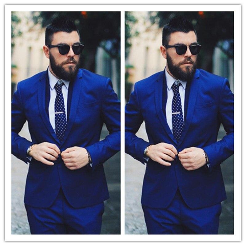 Royal Blue Men Giacche Affari Abiti Da uomo di Lusso Da Sposa Formale Sposo Su Misura Smoking Terno Masculino 2 Pezzi (Jacket + Pant)