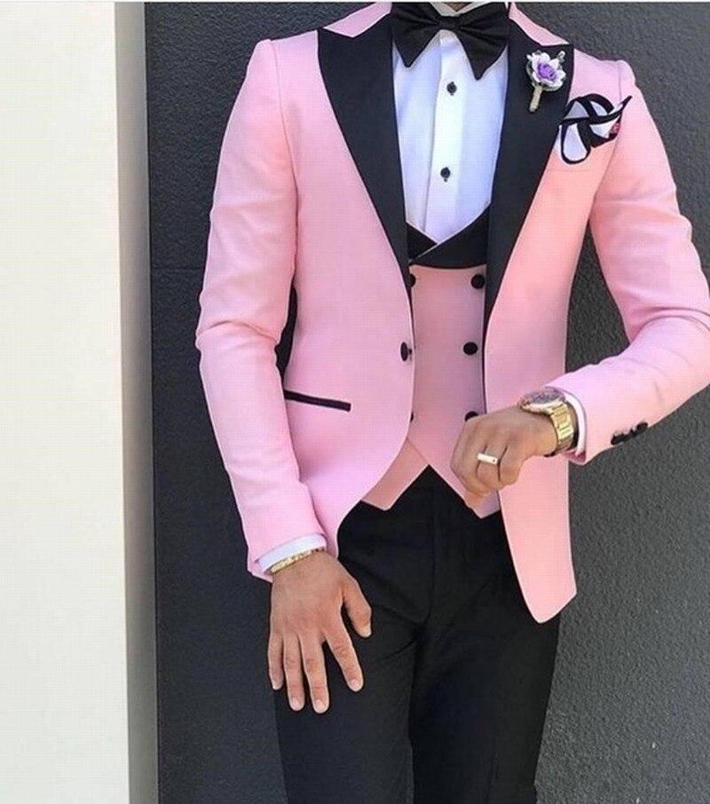 Smoking convenzionale Rosa Sposo Abiti Da Uomo Per La Cerimonia Nuziale Del Partito di Promenade Giacche Scialle Risvolto Groomsmen Abiti Costume Homme (Jacket + vest + pant)