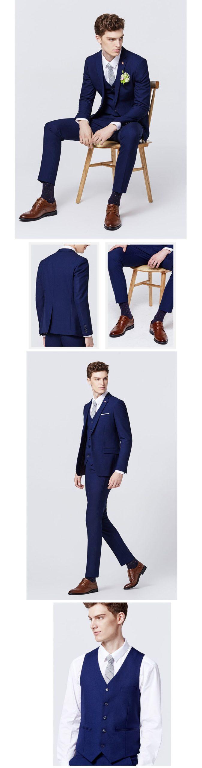 Su misura-made Formale di Affari Blu Su Misura Vestito Degli Uomini 2018 di Modo di Cerimonia Nuziale Del Partito Su misura Da Uomo Vestito 3 pezzi Giacca pantaloni Gilet