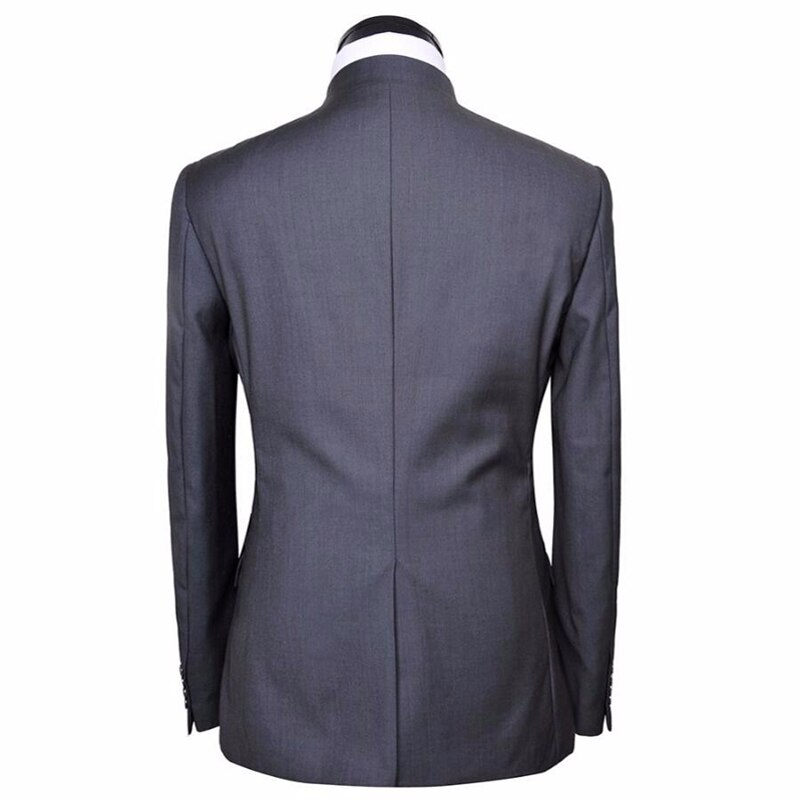 HB029 Nero nozze sposo handsome suit jacket moda popolare style collare del Mandarino custom made uomini di qualità giacca con i pantaloni