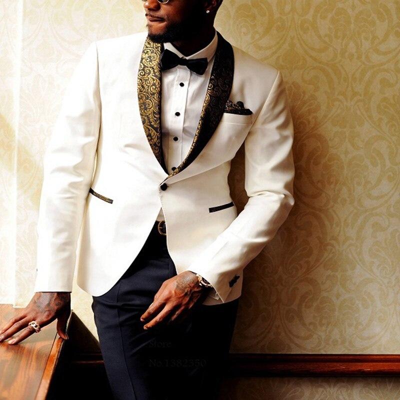 HB070 Uomo Abiti Da Sposa 2017 Avorio Vestito Collare D'oro Ultimi Disegni della Mutanda del Cappotto Mens Usura Della Fase del Costume Homme Mariage Abbigliamento