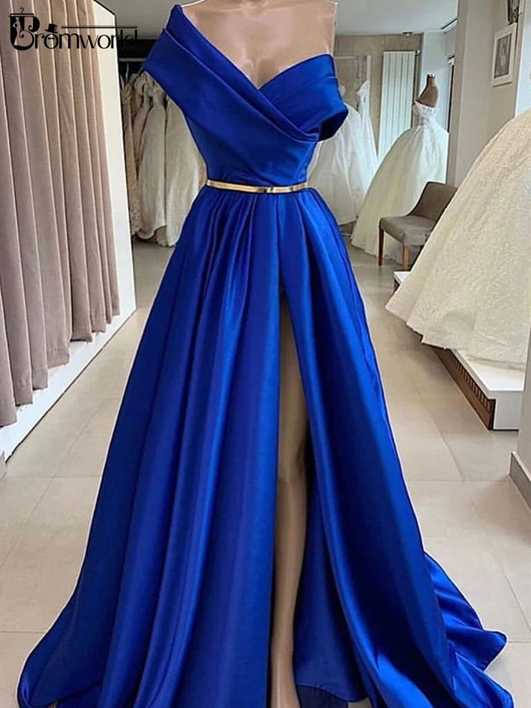 Elegante Una Spalla Royal Blue Abiti da ballo Lungo Robe De Soiree A-Line del Raso Dubai Sexy Alta Della Fessura Vestito Da Sera Convenzionale Del Partito